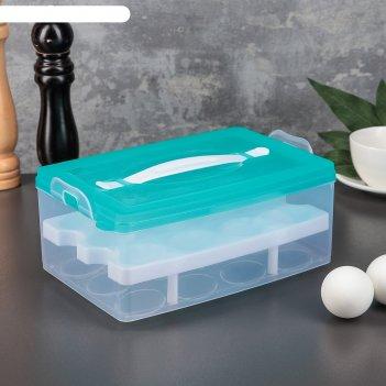 Контейнер для хранения яиц 24 ячейки, двухуровневый, цвета микс