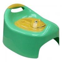 Горшок детский лягушка с крышкой салатовый 2207а