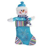 Носок для подарка снеговик (ручки в стороны, разноцветные кружочки)