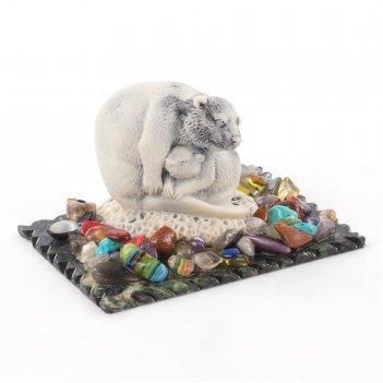 Сувенир бобер с бобренком змеевик мрамолит самоцветы 90х65х50