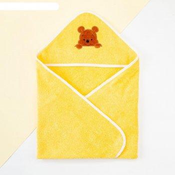 Махровое полотенце с уголком «винни», 75*75 см, хлопок 100%