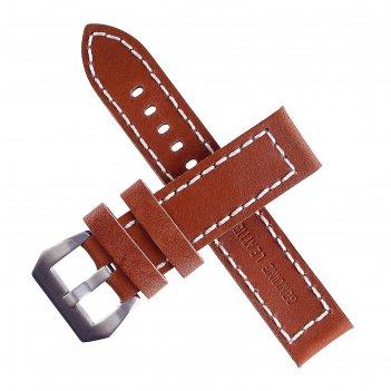 Ремешок для часов bugert 24 мм, натуральная кожа, l=20 см, коричневый со с