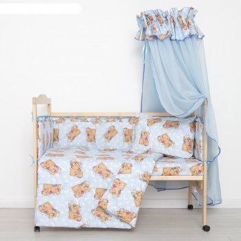 Комплект в кроватку спящие мишки (7 предметов), цвет голубой 715/1