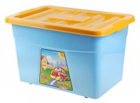 Ящик для игрушек на колесах, с крышкой, цвет голубой