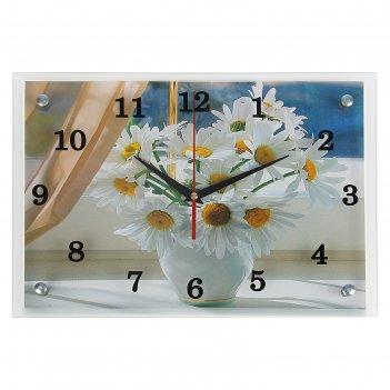 Часы настенные прямоугольные ромашки, 25х35 см