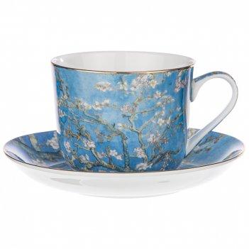 Чайный набор цветущие ветки миндаля (в. ван гог) на 1пер.2пр.500мл (кор=18