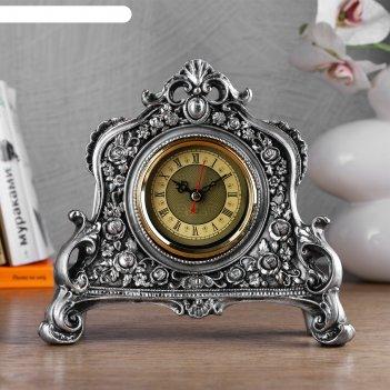 Часы настольные каминные, цвет серебряный,  21х19х6.5 см