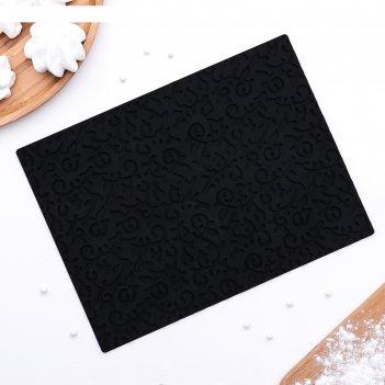 Коврик рельефный 25х18х0,5 см фигаро, цвет черный