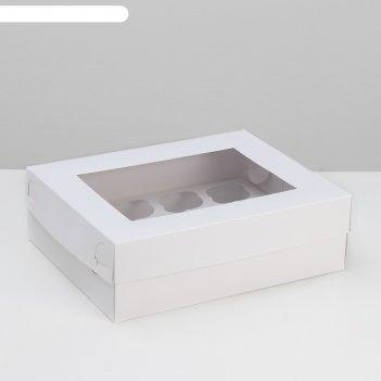 Коробка на 12 капкейков с окном, белая, 32,5 х 25,5 х 10 см
