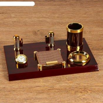 Набор настольный 5в1 (блок д/бумаг, карандашница, часы, визитница, подст,