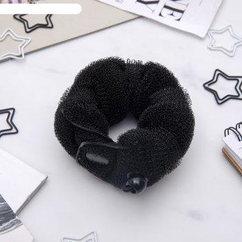 Валик для волос (с креплением и резинкой, черный, большой)