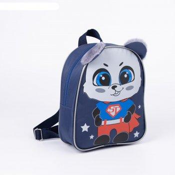 Рюкзак 1041 кроха, 21*7*25, отдел на молнии, панда, синий
