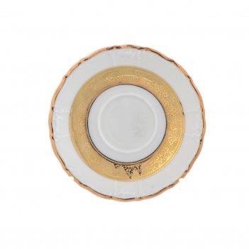 Блюдце кофейное thun мария луиза золотая лента ivory