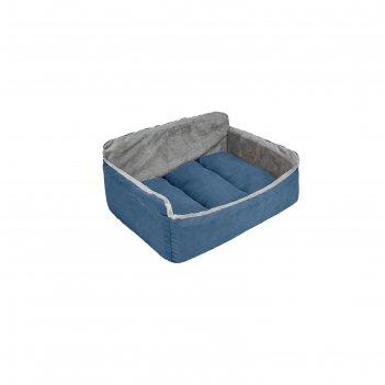 Лежанка-диван бархатный самсон, 62 х 45 х 28 см, синяя