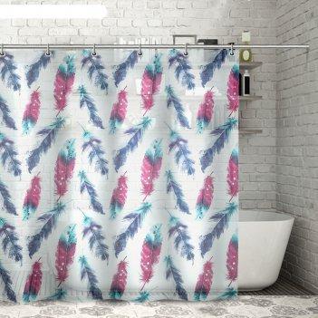 Штора для ванной 180x180 см пёрышки, eva
