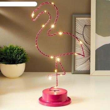 Ночник фламинго led от батареек 3хаа розовый 10х14,7х31 см