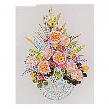 Набор для вышивания лентами букет радость размер основы 40*50 см