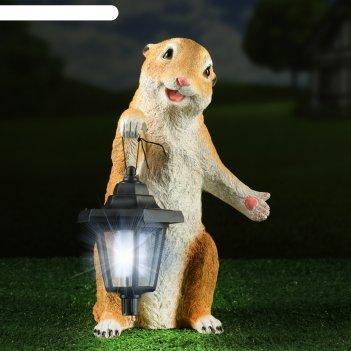 Садовый фонарь суслик с фонариком 15х15х36см