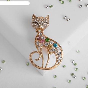 Брошь кошка грациозная, разноцветная в золоте