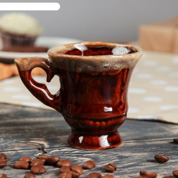 Чашка кофейная блиц коричневая, 0,1 л, керамика