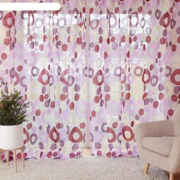 Тюль этель калейдоскоп (цвет лиловый) без утяжелителя, ширина 135 см, высо