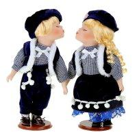 Кукла коллекционная парочка поцелуйчики в тёмно-синем наряде в наборе 2 шт