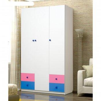 Шкаф 3-х дверный «радуга», 1200 x 490 x 2100 мм, цвет белый/ярко-розовый/с