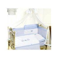 Комплект в кроватку orsetti, 6 предметов, цвет голубой/белый