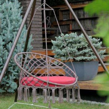 Подвесное плетёное кресло на металлической стойке lite aruba, садовая мебе