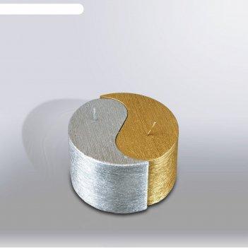 Свеча двудольная призма инь-янь металлик, 125х75хмм,  золото/серебро