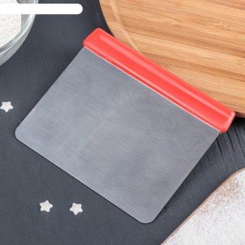 Шпатель кондитерский с ручкой 12x10x0,8 см, цвет красный
