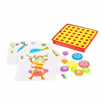 Мозаика детская весёлые механизмы, в комплекте 11 кар. в пакете
