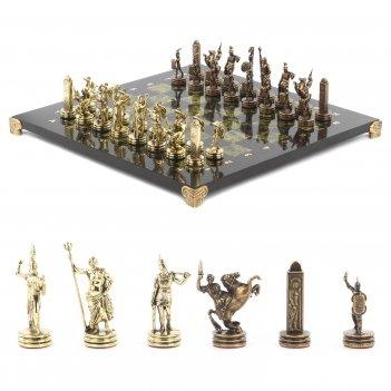 Шахматы греческая мифология доска 360х360 мм змеевик металл