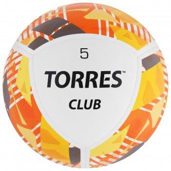 Мяч футбольный torres club, размер 5, 10 панелей, pu, гибридная сшивка, цв