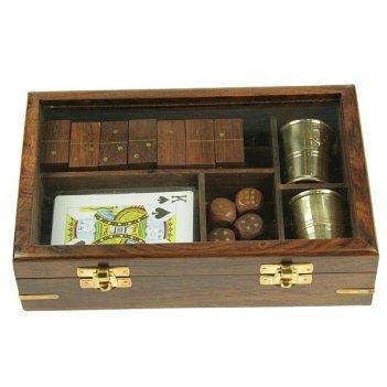 Подарочный набор игр: домино, игральные карты, кости, 2 стаканчика 22*14*5