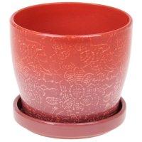 Горшок для цветов с поддоном 1240 мл цветочное кружево красное