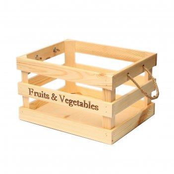 Ящик для овощей и фруктов, 40 x 30 x 30 см, деревянный