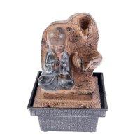 Фонтан маленький будда медитирует у скалы 18х12х12 см