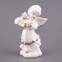"""Фигурка """"белый ангелочек с котенком"""" высота=13 см."""