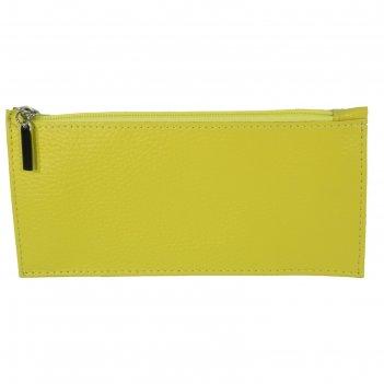 Кошелёк женский на молнии, 1 отдел для купюр, наружный карман, цвет жёлтый