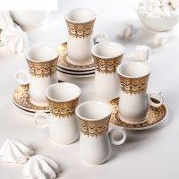 Сервиз кофейный парадайз, 12 предметов: 6 чашек 90 мл, 6 блюдец 10,5 см