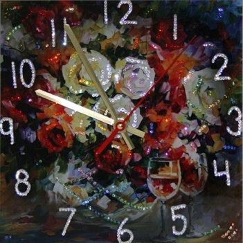 Картина сваровски - часы розы