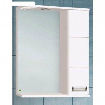 Зеркало-шкаф флора 600 т со светом белое, правое арт.10552