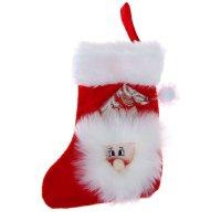 Носок для подарка дед мороз (красный, пушистый)