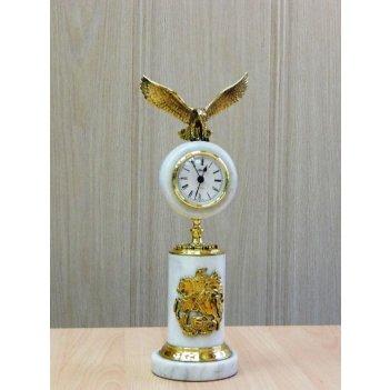 Часы подарочные из белого мрамора с орлом