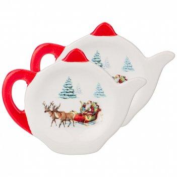 Набор подставок для чайных пакетиков из 2 шт. коллекция новогодняя сказк
