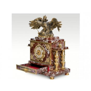 Часы-сейф из яшмы двуглавый орел(арт.с-026)