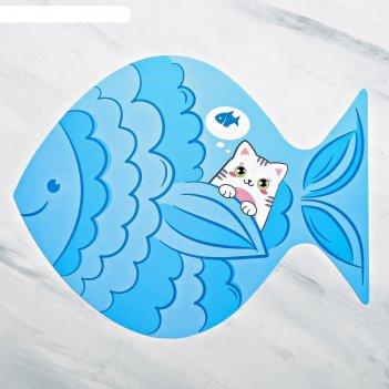 Коврик под миску хочу рыбку!, 35х28см