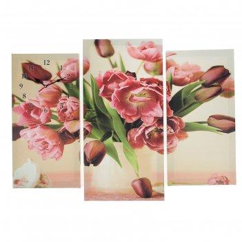 Часы настенные модульные «цветы в вазе», 60 x 80 см