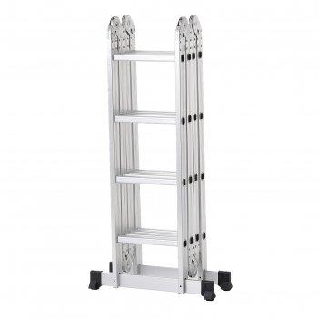 Лестница алюминиевая шарнирная 4х4 ступени tundra comfort